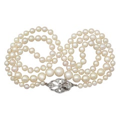 Antique Single Strand Pearl Necklace with Diamond, White Gold Clasp