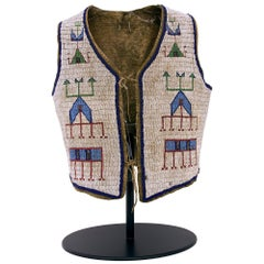 Antique Sioux 'Plains' Beaded Vest with Stand, 19th Century Native American Art