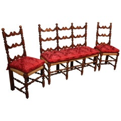 Antique Sitting Room Sofa and Chairs in Walnut, 19th Century