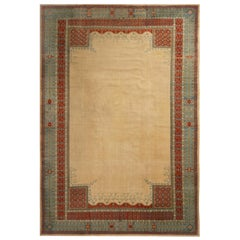 Antique Sivas Beige and Turquoise Wool Rug with Burgundy Accents