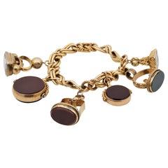 Antique Six Fobs Charm Bracelet