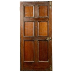 Antique Six Panel Oak Interior Door, 20th Century