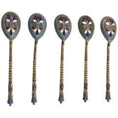 Antique Six Russian Imperial .875 Silver and Enamel Spoons