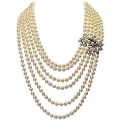 Antique Six-Strand Pearl Drape Necklace with Platinum Diamond Clasp