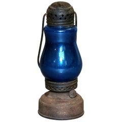 Antique Skater's Lantern with Blue Glass Globe, circa 1870