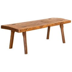 Antique Slab Top Plank Wood Coffee Table
