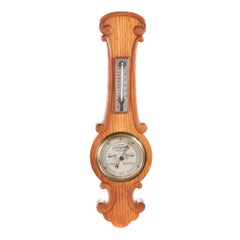 Antique Small Antique Oak Banjo Barometer, c.1880