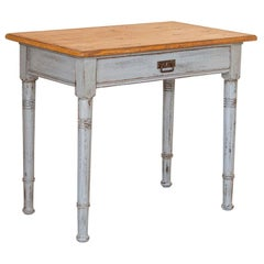 Antique Small Blue Painted Side Table with Pine Top