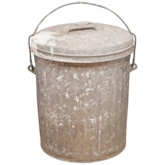 Antique Small Galvanized Steel Trash Can with Handle, circa 1940