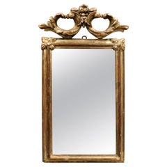 Antique Small Gilded Mirror, Carved Knot, 18th Century, Italy