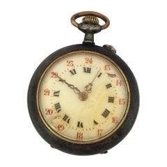 Antique Small Gunmetal Hand-Winding Fob / Pocket Watch