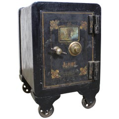 Antique Small Iron Alpine Safe on Wheels