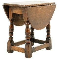 Antique Small Oak Gateleg Table, Drop Leaf, Scotland 1920, B2434