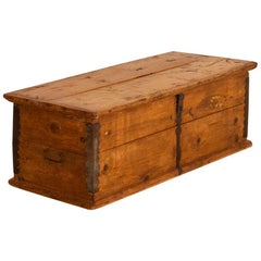 Antique Small Pine Trunk or Narrow Box