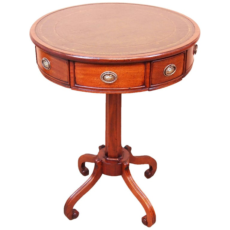 Antique Small Regency Mahogany Drum Type Lamp Table