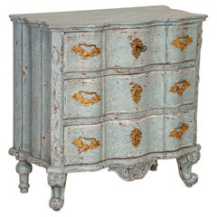 Antique Small Rococo Blue Painted Chest of Drawers Nightstand