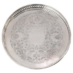 Antique Small Silver Plate Round Serving Tray with Gallery Rim