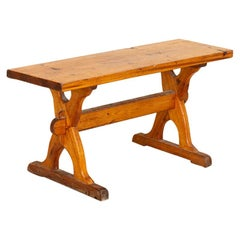 Antique Small Swedish Pine Bench or Side Table with X-Stretcher