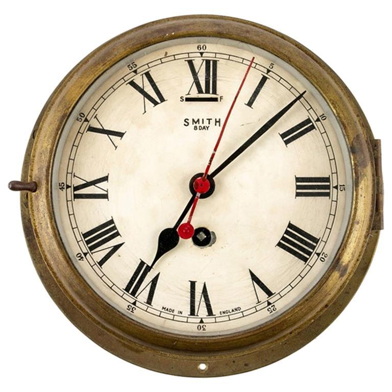 Antique Smith 8-Day Shipboard Clock