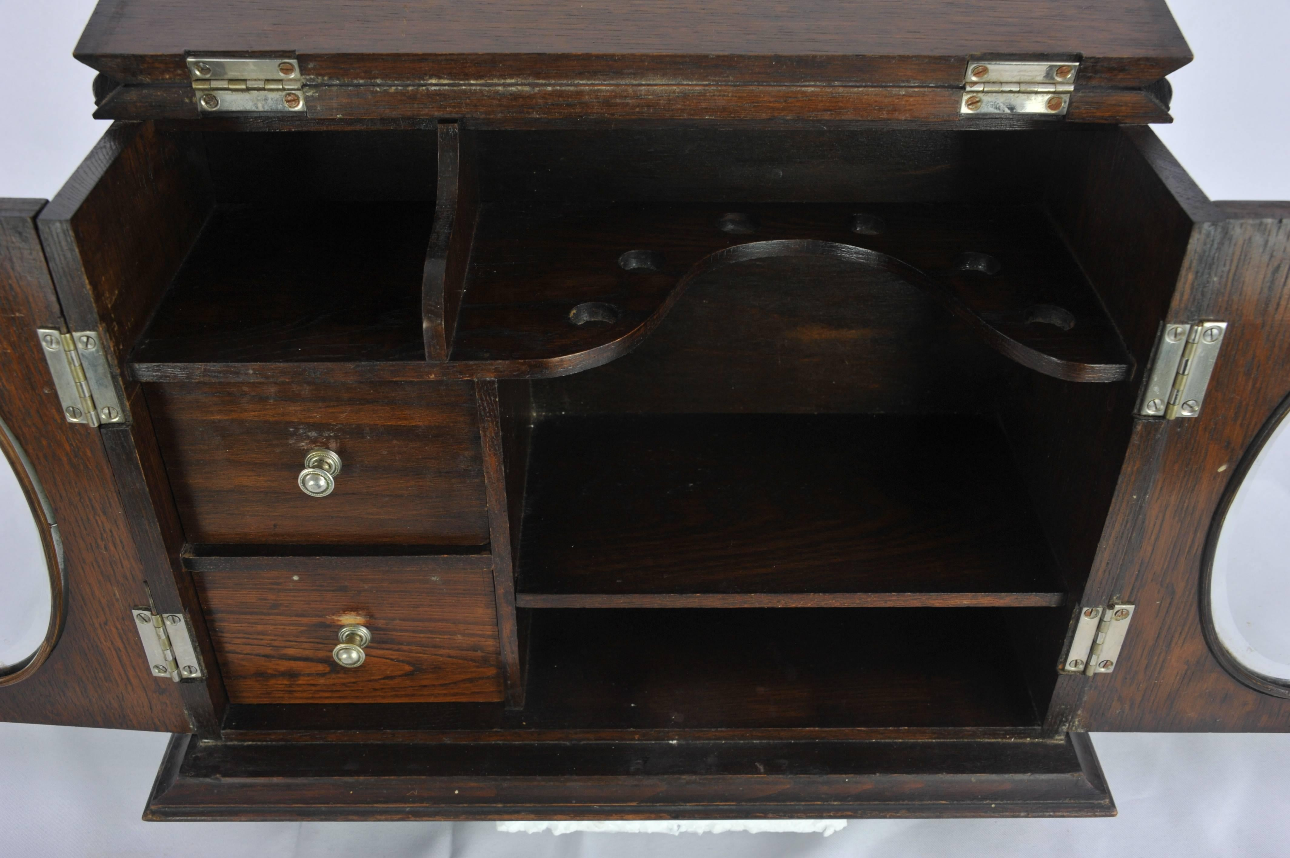 Hand Crafted Antique Smokers Cabinet, Apothecary Cabinet,Pipe Cabinet,  Scotland 1910 REDUCED