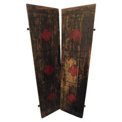 Antique Smooth Lacquered Wood Door, Front and Back, 19th Century, Italy