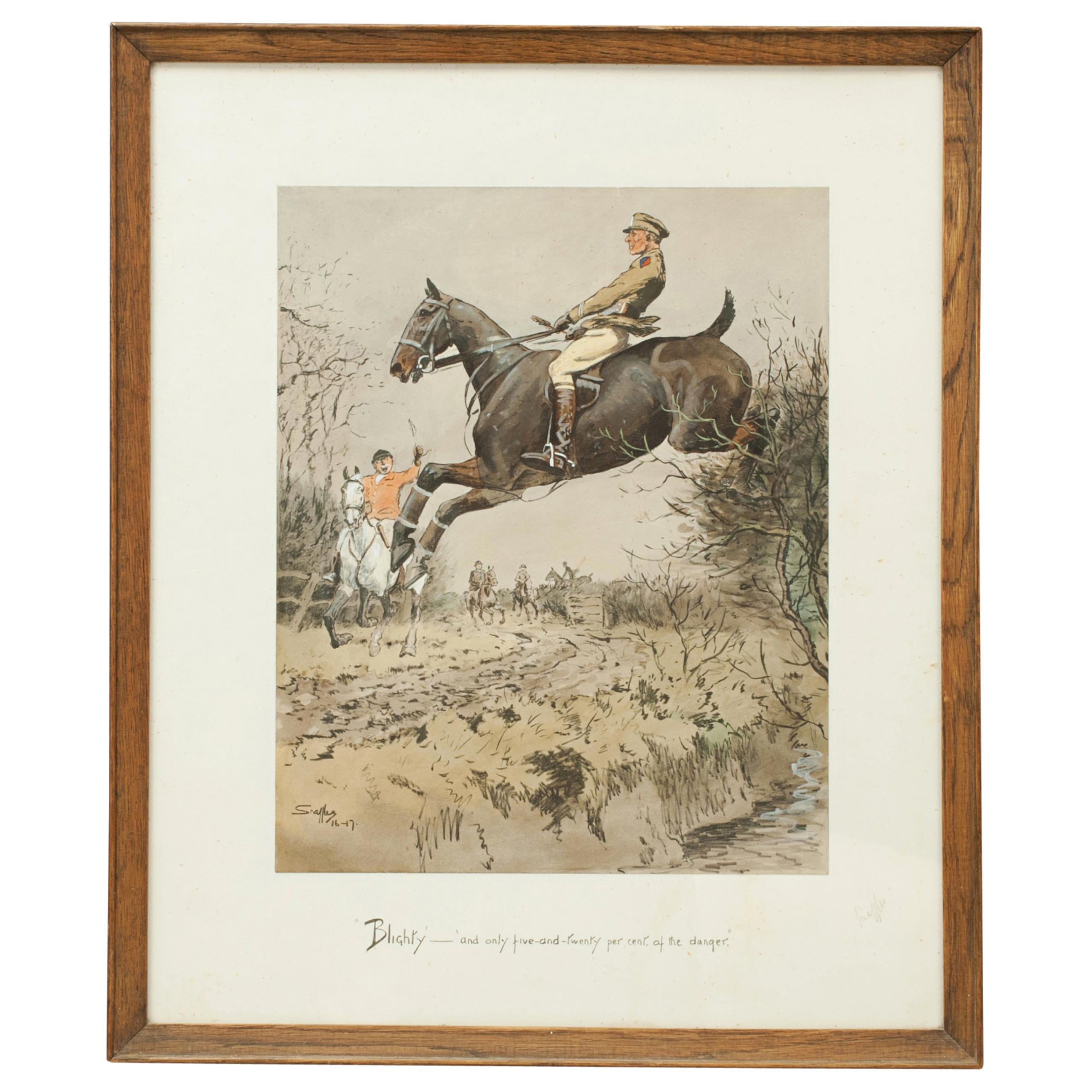Antique Snaffles World War 1 Military Print, Blighty