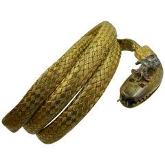 Antique Snake Bracelet Rose Cut Diamond Crown Ruby Eyes 14 Karat Gold circa 1840