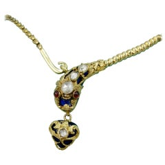 Antique Snake Necklace Rose Cut Diamond 14 Karat Gold Blue Enamel Garnet 1840