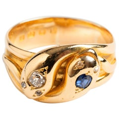 Antique Snake Ring Crossed with Diamonds and Sapphires Hallmarked 1885