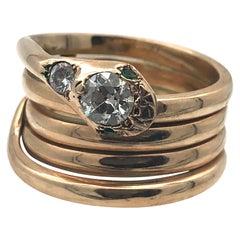 Antique Victorian Snake Diamond Emerald  15 Karat Redgold Ring