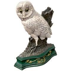 Antique Snow Owl Cast Iron Doorstop
