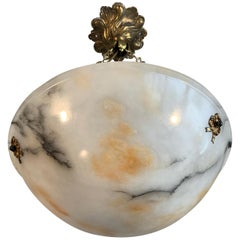 Antique Snowy White Alabaster Pendant with Black Veins and Amber Color Clouds