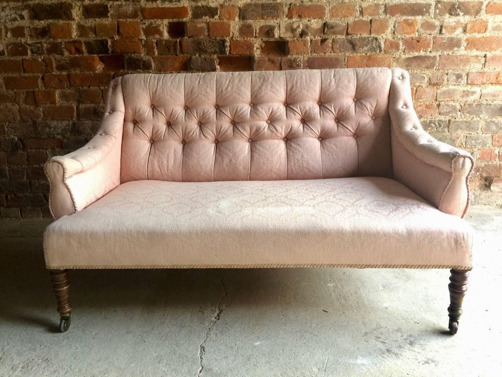Antique Sofa Settee Chesterfield Button Back 19th Century Victorian Pink  Casters In Good Condition For Sale