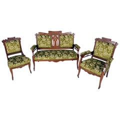 Antique Sofa Suite, Victorian Art Nouveau Walnut 3-Piece, America 1900, B2019