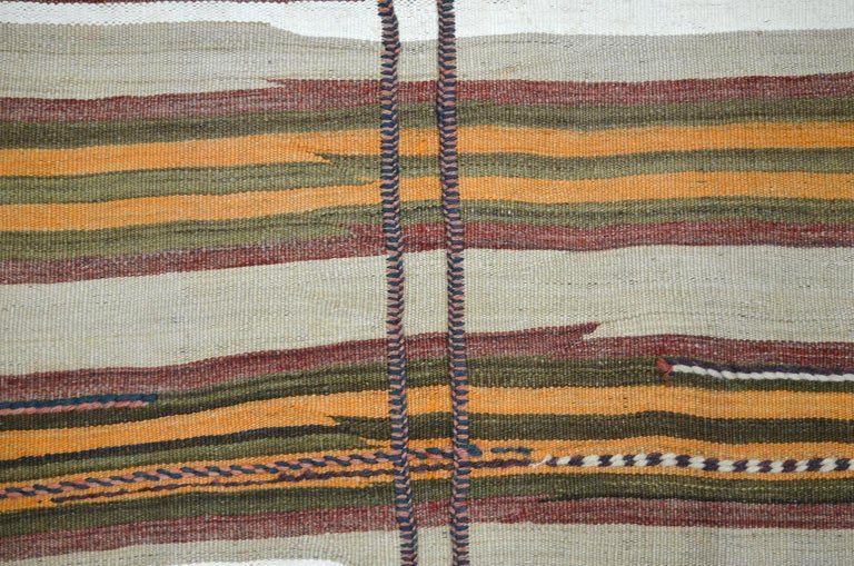 Vegetable Dyed Antique Sofreh Flat-Weave Carpet with Kilim and Soumak Weave in Pure Wool For Sale