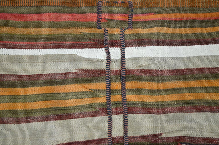 Antique Sofreh Flat-Weave Carpet with Kilim and Soumak Weave in Pure Wool For Sale 1