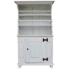 Antique Softwood Cupboard in White, 1820s