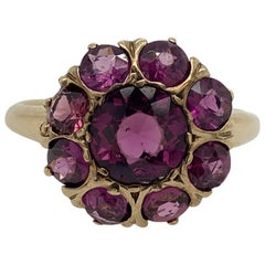 Antique Solid 10 Karat Yellow Gold Genuine Purple Sapphire Cluster Ring 4.0g