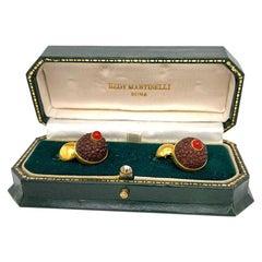 Antique Solid 18 Karat Gold Carnelian Cufflinks by Hedy Martinelli 8.8g with Box
