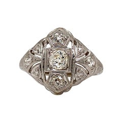 Antique Solid 20 Karat White Gold Genuine Diamond Filigree Ring 1.15 Carat 3.8g