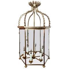 Antique Solid Brass Lantern, Circa 1910-1920.