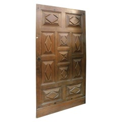 Antique Solid Brown Walnut Door, Carved Lozenges, 17th Century, Italy