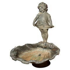 Antique Solid Lead Fountain Small Girl and Frog