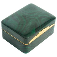 Antique Solid Malachite and Gold Lidded Box Casket, 19th Century