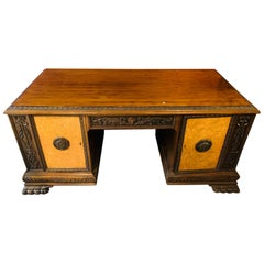 Antique Solid Oak Wood Desk with Lion Paws, Around 1900