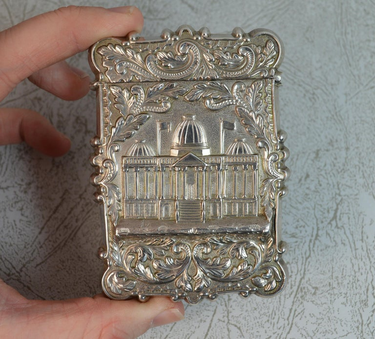 Antique Solid Silver Card Case with Castle Top Design In Excellent Condition In St Helens, GB