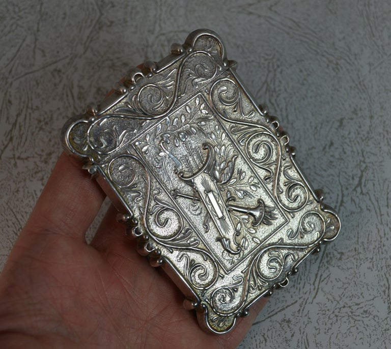 Antique Solid Silver Card Case with Castle Top Design 3