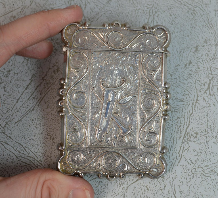 Antique Solid Silver Card Case with Castle Top Design 4