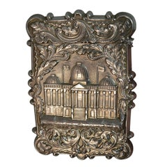 Antique Solid Silver Card Case with Castle Top Design