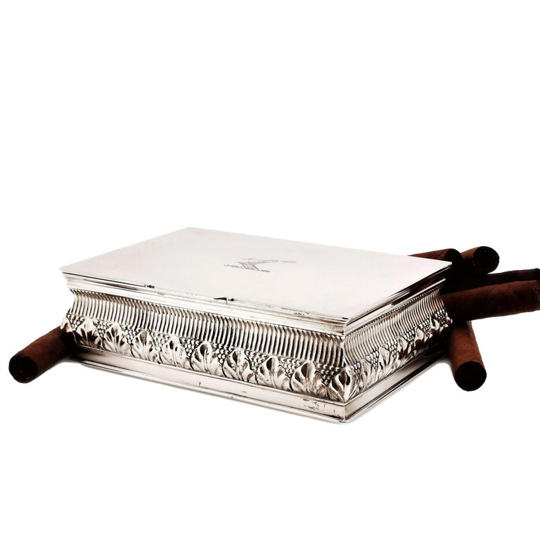 20th Century Antique Solid Silver Cigar Box / Cigarette Box 1902 Chased with Crest For Sale